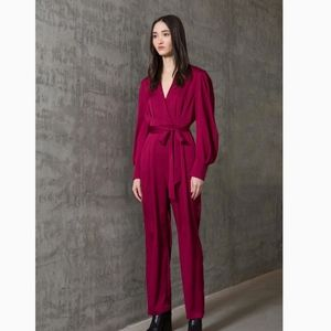 FW19 BCBGMAXAZRIA Draped-Sleeve Belted Jumpsuit